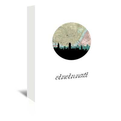 Americanflat 'Cincinnati Map Skyline' by Paper Finch Graphic Art Wrapped on Canvas