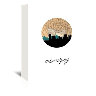 Americanflat 'Winnipeg Map Skyline' by PaperFinch Graphic Art Wrapped on Canvas
