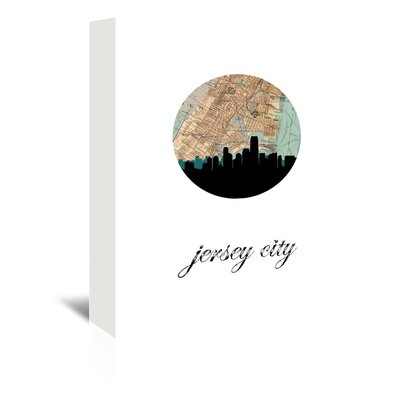 Americanflat 'Jersey City Map Skyline' by PaperFinch Graphic Art Wrapped on Canvas