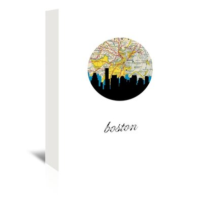 Americanflat 'Boston Map Skyline' by Paper Finch Graphic Art Wrapped on Canvas