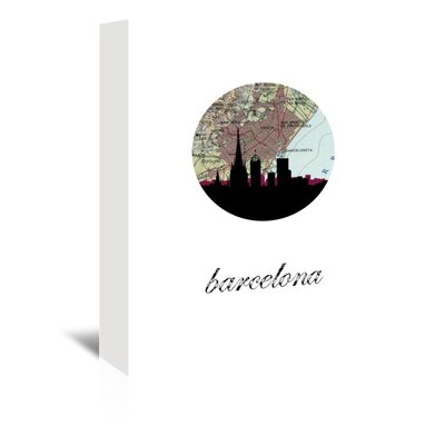 Americanflat 'Barcelona Map Skyline' by Paper Finch Graphic Art Wrapped on Canvas