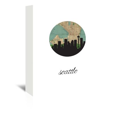 Americanflat 'Seattle Map SKyline' by PaperFinch Graphic Art Wrapped on Canvas