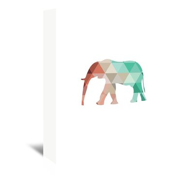 Americanflat 'Mint Coral Elephant Up To' by Melinda Wood Graphic Art Wrapped on Canvas