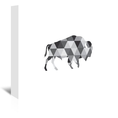 Americanflat 'Geometric Grey Buffalo Up To' by Melinda Wood Graphic Art Wrapped on Canvas