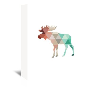 Americanflat 'Mint Coral Moose Up To' by Melinda Wood Graphic Art Wrapped on Canvas