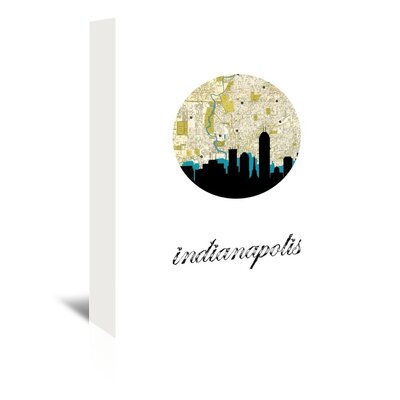Americanflat 'Indianapolis Map Skyline' by PaperFinch Graphic Art Wrapped on Canvas