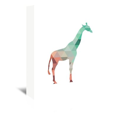 Americanflat 'Mint Coral Giraffe Up To' by Melinda Wood Graphic Art Wrapped on Canvas