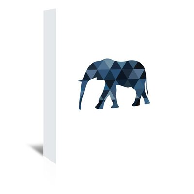 Americanflat 'Navy Elephant Up To' by Melinda Wood Graphic Art Wrapped on Canvas