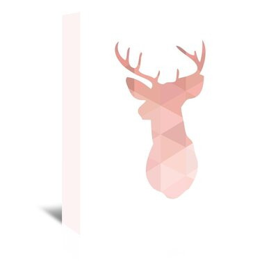 Americanflat 'Pink Deer Up To' by Melinda Wood Graphic Art Wrapped on Canvas