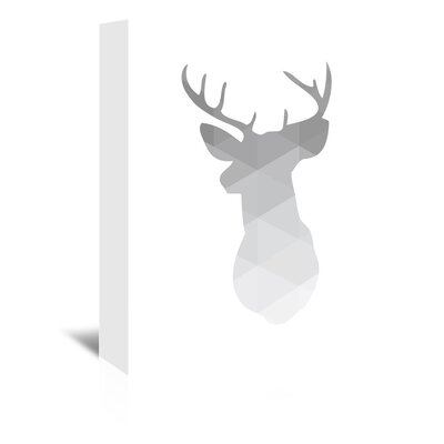 Americanflat 'Grey Geometric Deer Up To' by Melinda Wood Graphic Art Wrapped on Canvas
