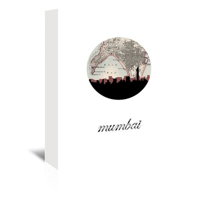Americanflat 'Mumbai Map Skyline' by PaperFinch Graphic Art Wrapped on Canvas