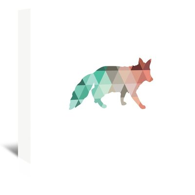 Americanflat 'Coral Mint Fox Up To' by Melinda Wood Graphic Art Wrapped on Canvas