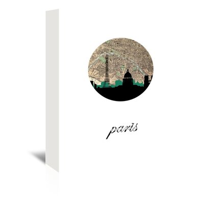 Americanflat 'Paris Map Skyline' by Paper Finch Graphic Art Wrapped on Canvas