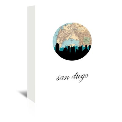 Americanflat 'San Diego Map Skyline' by PaperFinch Graphic Art Wrapped on Canvas
