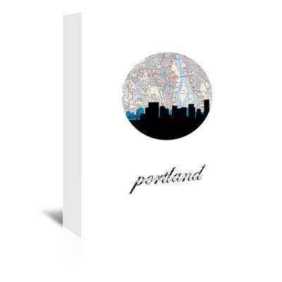 Americanflat 'Portland Map Skyline' by PaperFinch Graphic Art Wrapped on Canvas