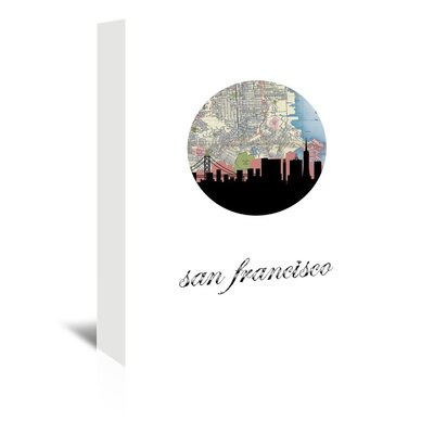 Americanflat 'San Fran Map Skyline' by PaperFinch Graphic Art Wrapped on Canvas