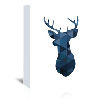 Americanflat 'Navy Deer Up To' by Melinda Wood Graphic Art Wrapped on Canvas