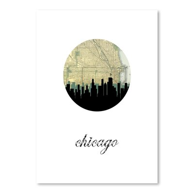 Americanflat 'Chicago Map Skyline' by Paper Finch Graphic Art