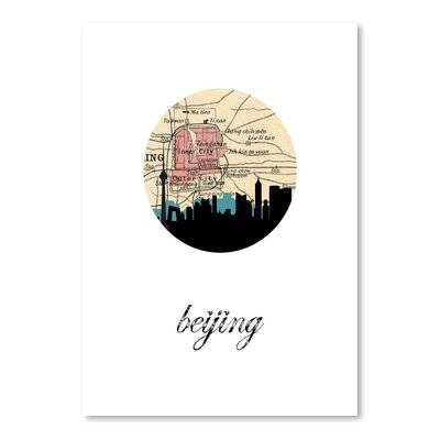 Americanflat 'Beijing Map Skyline' by Paper Finch Graphic Art