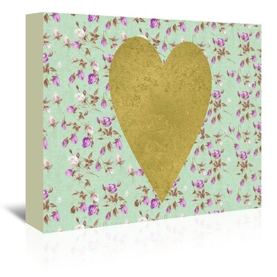 Americanflat 'Heart on Mint Floral' Graphic Art Wrapped on Canvas