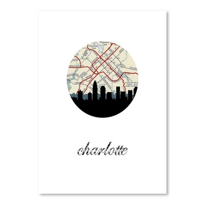 Americanflat 'Charlotte Map Skyline' by Paper Finch Graphic Art