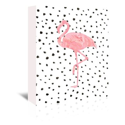 Americanflat 'Flamingo on Polka Dots' Graphic Art Wrapped on Canvas
