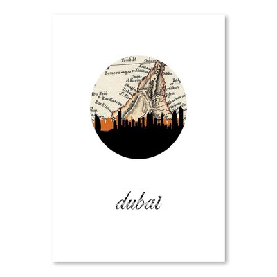 Americanflat 'Dubai Map Skyline' by PaperFinch Graphic Art