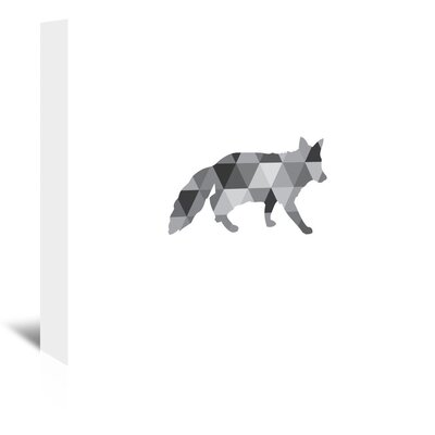 Americanflat Geometric Grey Fox Up To' by Melinda Wood Graphic Art on Canvas