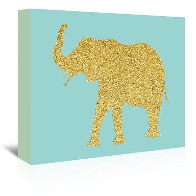 Americanflat 'Gold Glitter Elephant' Graphic Art Wrapped on Canvas
