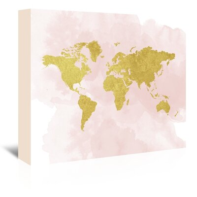 Americanflat Gold Glitter Map' Graphic Art on Canvas