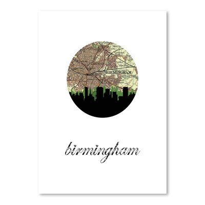 Americanflat 'Birmingham Eng Map Skyline' by Paper Finch Graphic Art Wrapped on Canvas