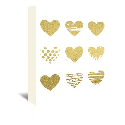 Americanflat 'Gold Hearts' by Peach & Gold Graphic Art Wrapped on Canvas