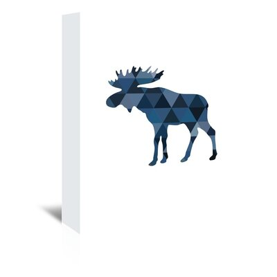 Americanflat Navy Moose Up To' by Melinda Wood Graphic Art on Canvas