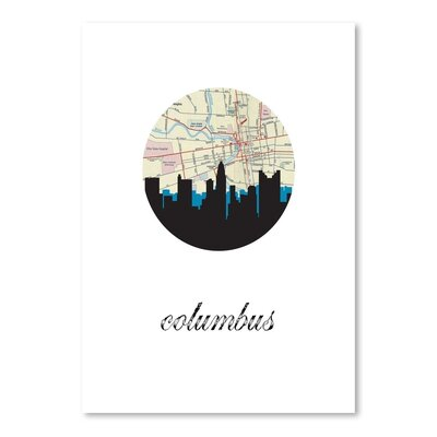 Americanflat 'Columbus Map Skyline' by Paper Finch Graphic Art
