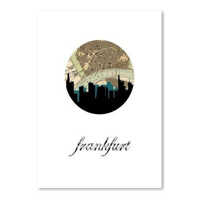 Americanflat 'Frankfurt Map Skyline' by PaperFinch Graphic Art