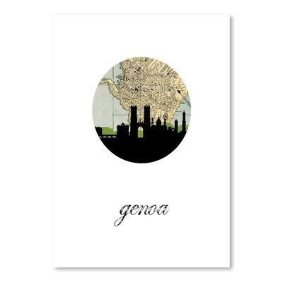 Americanflat 'Genoa Map Skyline' by PaperFinch Graphic Art