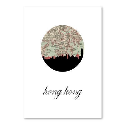 Americanflat 'Hong Kong Map Skyline' by PaperFinch Graphic Art