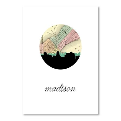 Americanflat 'Madison Map Skyline' by PaperFinch Graphic Art