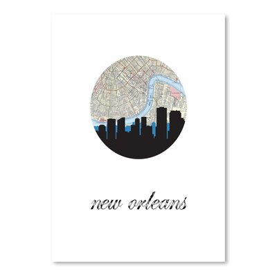 Americanflat 'New Orleans Map Skyline' by PaperFinch Graphic Art