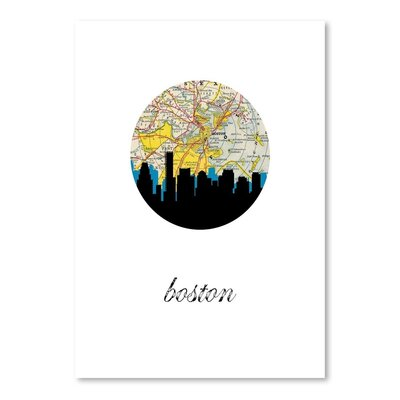 Americanflat 'Boston Map Skyline't by Paper Finch Graphic Art