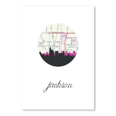 Americanflat 'Jackson MS Map Skyline2' by PaperFinch Graphic Art