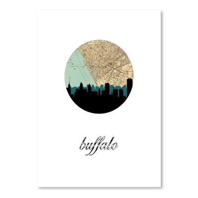 Americanflat 'Buffalo Map Skyline' by Paper Finch Graphic Art