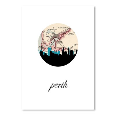 Americanflat 'Perth Map Skyline' by PaperFinch Graphic Art