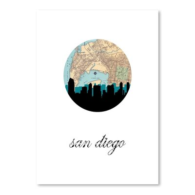 Americanflat 'San Diego Map Skyline' by PaperFinch Graphic Art