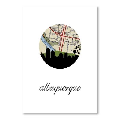 Americanflat 'Albuquerque Map Skyline' by Paper Finch Graphic Art