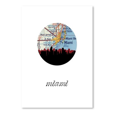 Americanflat 'Miami Map Skyline' by PaperFinch Graphic Art