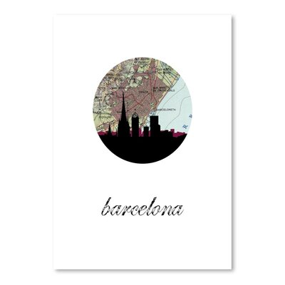 Americanflat 'Barcelona Map Skyline' by Paper Finch Graphic Art