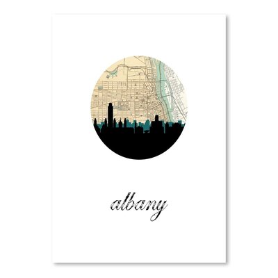 Americanflat 'Albany Map Skyline' by Paper Finch Graphic Art