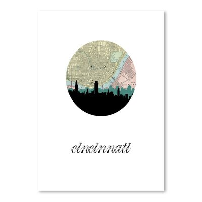 Americanflat 'Cincinnati Map Skyline' by Paper Finch Graphic Art