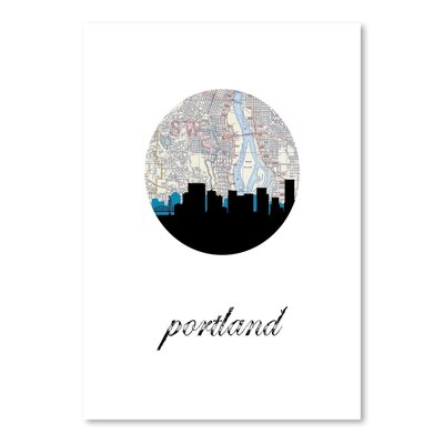 Americanflat 'Portland Map Skyline' by PaperFinch Graphic Art